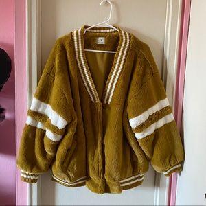Mustard White Faux Fur Oversized Varsity Jacket